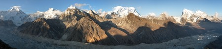 Evening panoramic view of mount Everest with beautiful clouds on the top from Gokyo Ri - Everest area, Sagarmatha national park, Khumbu valley, Nepal Stock Photo