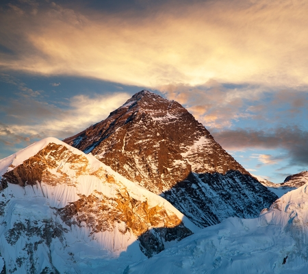 Evening colored view of Mount Everest from Kala Patthar, Khumbu valley, Solukhumbu, Sagarmatha national park, Nepal Stock Photo