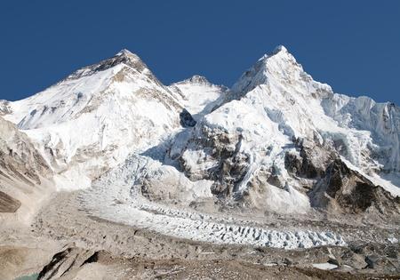 Beautiful view of mount Everest, Lhotse and Nuptse from Pumo Ri base camp - way to Everest base camp, Khumbu valley, Sagarmatha national park, Nepal