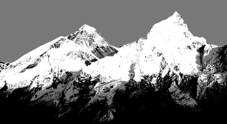 Abstract silhouette of Mount Everest from Kala Patthar, Sagarmatha national park, Khumbu valley, Nepal