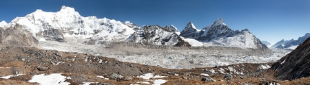 View of Ngozumba glacier, the largest glacier in great Himalayan range - way to Cho Oyu base camp - Nepal Stock Photo