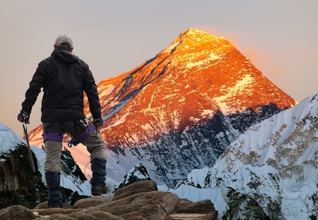 highlander: Evening colored view of Mount Everest from Gokyo valley with tourist on the way to Everest base camp, Sagarmatha national park, Khumbu valley, Khumbu valley, Sagarmatha national park, Nepal