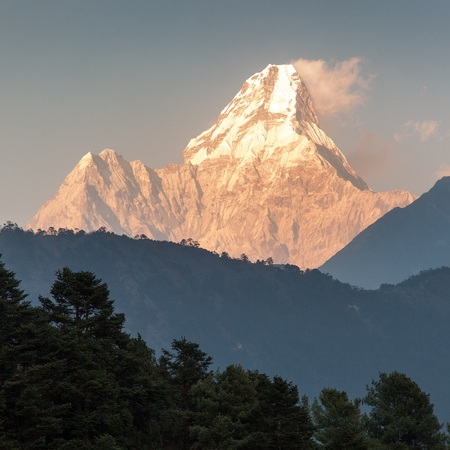 eventide: evening view of Ama Dablam, one of the best mountain on the way to Everest base camp, Nepal