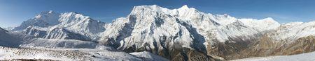 Panoramic view of Annapurna 2 II, Annapurna 3 III, Annapurna 4 IV, Ganggapurna and Khangsar Kang, Annapurna range from Ice Lake, way to Thorung La pass, Annapurna circuit trek, Nepal