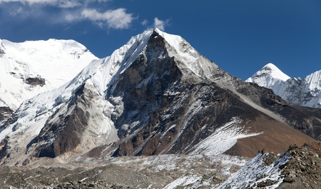 View of Island peak or Imja Tse, view point to mount Lhotse and Ama Dablam one of the best trekking peaks in Khumbu valley, Everest area, Solukhumbu, Sagarmatha national park, Nepal