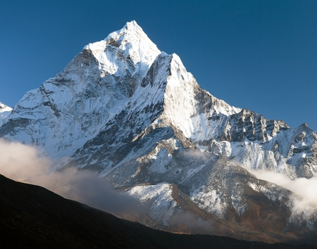 eventide: beautiful view of mount Ama Dablam - way to Everest base camp, Khumbu valley, Solukhumbu, Sagarmatha national park Nepal