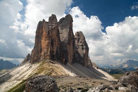 View of Drei Zinnen or Tre Cime di Lavaredo with beautiful cloud on sky, Sextener Dolomiten or Dolomiti di Sesto, South Tirol, Dolomites mountains, Italien Alps Stock Photo