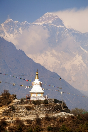 Evening view of stupa near Namche Bazar and Mount Everest - way to Everest base camp - Nepal