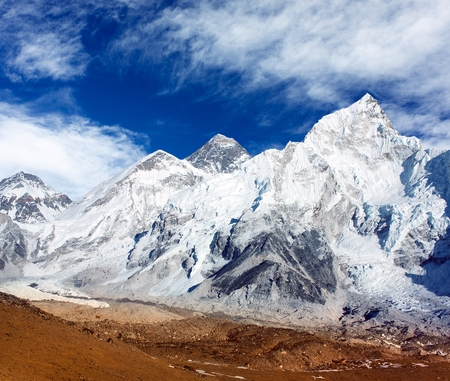 panoramic view of Mount Everest with beautiful sky and Khumbu Glacier - Khumbu valley - Nepal Stock Photo