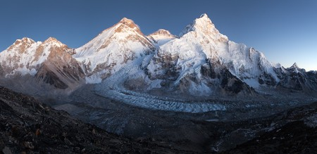 nightly view of Mount Everest, Lhotse and Nuptse from mount Pumo Ri base camp - Sagarmatha national park, Khumbu valley, Nepal