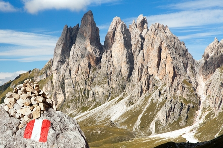 View of Geislergruppe or Gruppo delle Odle with tourist sign, Dolomiti, Italy