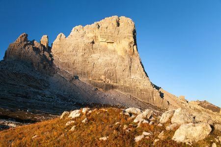 Morning view of mount Beco de Mezodi, South Tirol, dolomites mountains, Italy Banco de Imagens