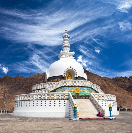 View of Tall Shanti stupa with beautiful sky, the big stupa in Leh and one fron the best buddhist stupas - Jammu and Kashmir - Ladakh - India
