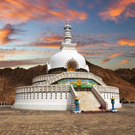 nepali: Evening sunset view of Tall Shanti Stupa near Leh - Jammu and Kashmir - Ladakh - India