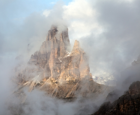Morning view of Drei Zinnen or Tre Cime di Lavaredo with beautiful cloudy sky, Sextener Dolomiten or Dolomiti di Sesto, South Tirol, Dolomites mountains view, Italian Alps