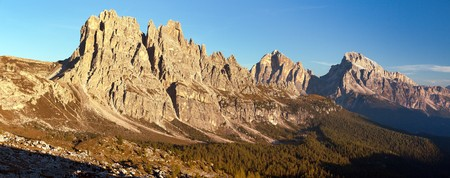 Morning panoramic view of Cima Ambrizzola, Croda da Lago and Le Tofane Gruppe, Dolomites mountains, Italy