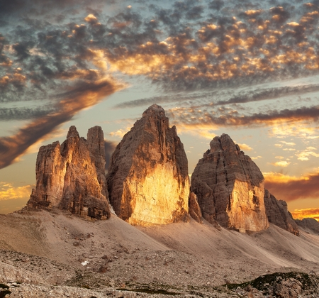 Evening view of Drei Zinnen or Tre Cime di Lavaredo, Sextener Dolomiten or Dolomiti di Sesto, South Tirol, Dolomiten mountains view, Italien Alps Stock Photo