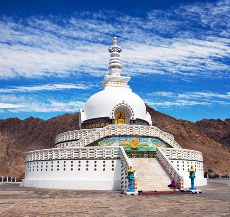 monastic: View of Tall Shanti stupa with beautiful sky, the big stupa in Leh and one fron the best buddhist stupas - Jammu and Kashmir - Ladakh - India
