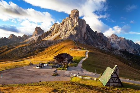 Passo Giau near Cortina d Ampezzo and mout Ra Gusela and Nuvolau, Dolomites, Italy