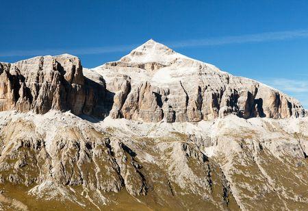 alpen: Piz Boe, view of top of Sella gruppe or Gruppo di Sella, South Tirol, Dolomites mountains, Italy Stock Photo