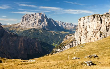 View of Langkofel or Sassolungo, Dolomites mountains, Italy Stock Photo