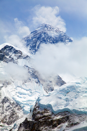 Mount Everest. View of top of Mount Everest with clouds from Kala Patthar way to mount Everest base camp, Everest area, khumbu valley - Nepal Stock Photo