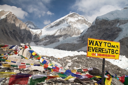 signpost way to mount everest b.c., Khumbu glacier and prayer flags, Everest area, Nepal
