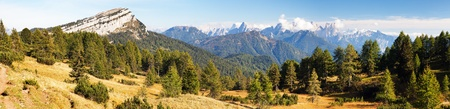 Panoramic view from Alps Dolomites mountains, Italy