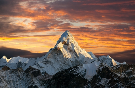 Evening panoramic view of mount Ama Dablam with beautiful sky on the way to Everest base camp, Khumbu valley, Sagarmatha national park, Everest area, Nepal