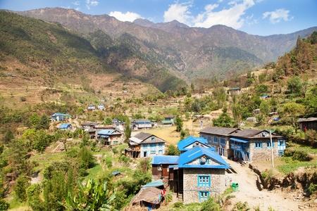 Kharikhola village, Nepalese Himalayas mountains, Trek from Jiri bazar to Lukla village and Everest area Stock Photo