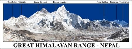Groot bereik van de Himalaya, panoramisch uitzicht op de Mount Everest en de Khumbu-gletsjer vanaf Kala Patthar - weg naar basiskamp Everest, Khumbu-vallei, Nationaal park Sagarmatha, Nepal Himalaya