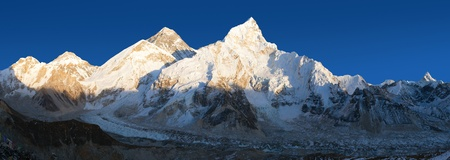 Evening panoramic view of Mount Everest from Kala Patthar - Way to Mount Everest base camp, Sagarmatha national park, Khumbu valley, Nepal