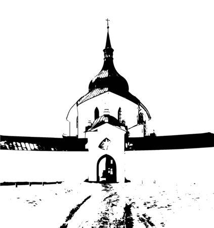 pilgrimage church of St. John of Nepomuk (Jan Nepomucky) on zelena hora, green hill, Czech Republic, monument unesco, black and white illustration