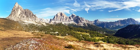 View from passo Giau to mount Ra Gusela from Nuvolau gruppe and Tofana or Le Tofane Gruppe with clouds, Dolomites mountains, Italy Stock Photo