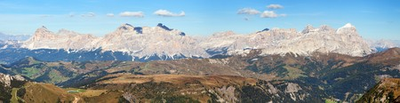 Panoramatic view of Tofana gruppe, Kreuzkofel gruppe, Piz de Lavarella, Conturinesspitze and Fanes, Alps Dolomites mountains, Italy