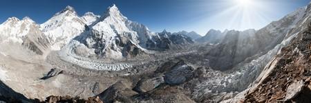 Beautiful view of mount Everest, Lhotse and nuptse from Pumo Ri base camp - way to Everest base camp, Khumbu valley, Sagarmatha national park, Nepal Stock Photo