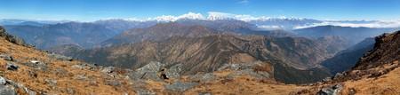 Panoramic view of himalaya range from Pikey peak - trekking trail from Jiri Bazar to Lukla and Everest base camp, nepalese himalayas, mounts Everest and Lhotse, Nepal