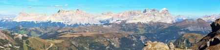 Panoramatic view of Tofana gruppe, Kreuzkofel gruppe, Piz de Lavarella, Conturinesspitze and Fanes, Alps Dolomites mountains, Italy