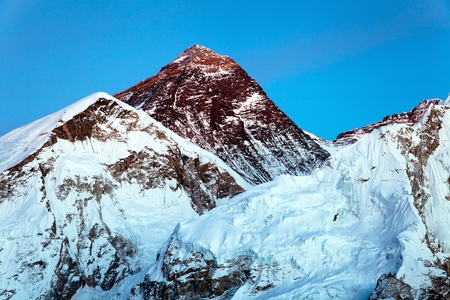 View of top of Mount Everest from Kala Patthar way to mount Everest base camp, khumbu valley, nepalese himalayas - Nepal Stock Photo