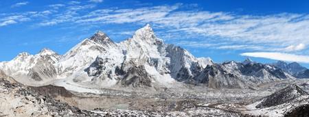 Panoramic view of himalayas mountains, Mount Everest with beautiful sky and Khumbu Glacier - way to Everest base camp, Khumbu valley, Sagarmatha national park, Nepalese himalayas Stock Photo