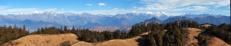 high sierra: Panoramic view from Khaptad national park, mount Saipal, great himalayan trail, Rara to Khaptad trek in western Nepal Stock Photo