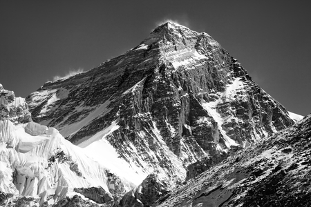 black and white silhouette of Mount Everest from Gokyo valley, Sagarmatha national park, Khumbu valley, Nepal