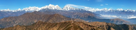 Panoramic view of himalaya range from Pikey peak - trekking trail from Jiri Bazar to Lukla and Everest base camp, nepalese himalayas, mounts Everest and Lhotse, Nepal
