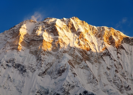 Morning view of Mount Annapurna from Annapurna south base camp, Nepal Stock Photo