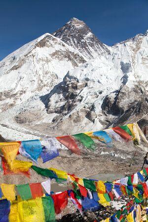 view of Mount Everest with buddhist prayer flags from Kala Patthar, way to Everest base camp, Sagarmatha national park, Khumbu valley, Solukhumbu, Nepal Himalayas Stock Photo