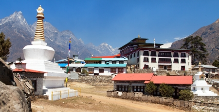 Tengboche Monastery with stupa and prayar wall, the best monastery in Khumbu valley, trek to Everest base camp, Sagarmatha national park, Nepal Stock Photo