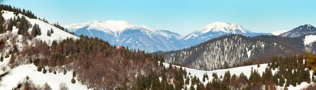 View from Velka Fatra mountains, Borisov Chalet and Mala Fatra mountains with mounts Krivan, Stoh and Rozsutec Stock Photo