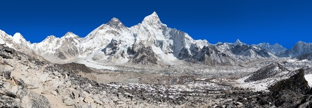 Panoramic view of himalayas mountains, Mount Everest with beautiful blue sky and Khumbu Glacier