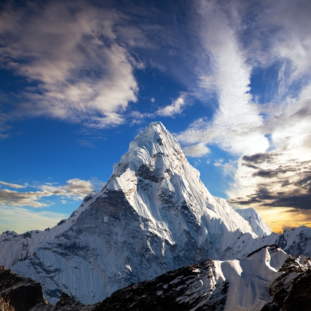 Evening view of Ama Dablam on the way to Everest Base Camp - Nepal Stock Photo