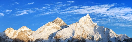 Evening panoramic view of Mount Everest from Kala Patthar with beautiful clouds on sky - Way to Mount Everest base camp, Sagarmatha national park, Khumbu valley, Nepal